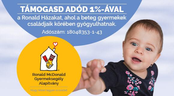 Segítsd Te is a Ronald Házak munkáját adód 1%-ával!